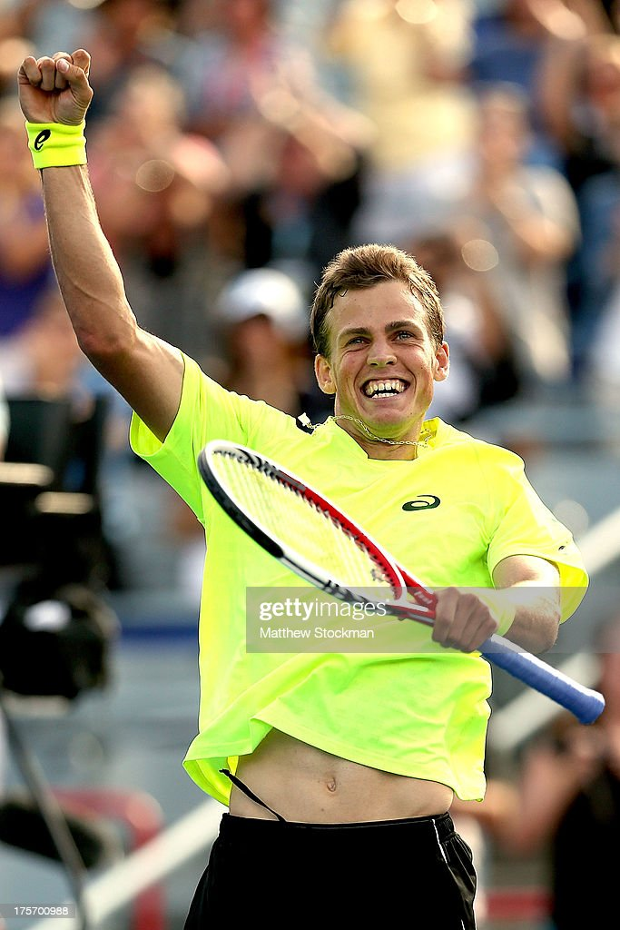 <a gi-track='captionPersonalityLinkClicked' href=/galleries/search?phrase=Vasek+Pospisil&family=editorial&specificpeople=5421228 ng-click='$event.stopPropagation()'>Vasek Pospisil</a> of Canada celebrates his win over John Isner of the United States during the Rogers Cup at Uniprix Stadium on August 6, 2013 in Montreal, Quebec, Canada.