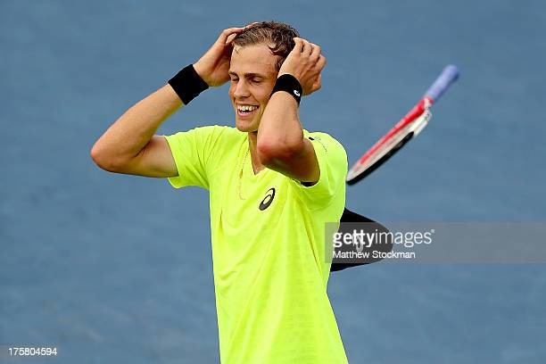 Vasek Pospisil of Canada celebrates match point against Tomas Berdych of Czech Republic during the Rogers Cup at Uniprix Stadium on August 8 2013 in...