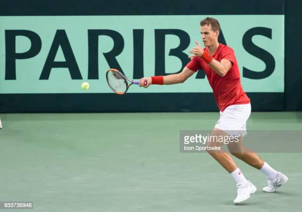 Vasek Pospisil of Canada v Kyle Edmund of Great Britain in the BNP Paribas Davis Cup Tennis Canada v Great Britain team match on February 03 at TD...
