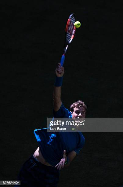 Vasek Pospisil of Canada serves during his match against Dustin Brown of Germany during Day 3 of the Gerry Weber Open 2017 at on June 19 2017 in...