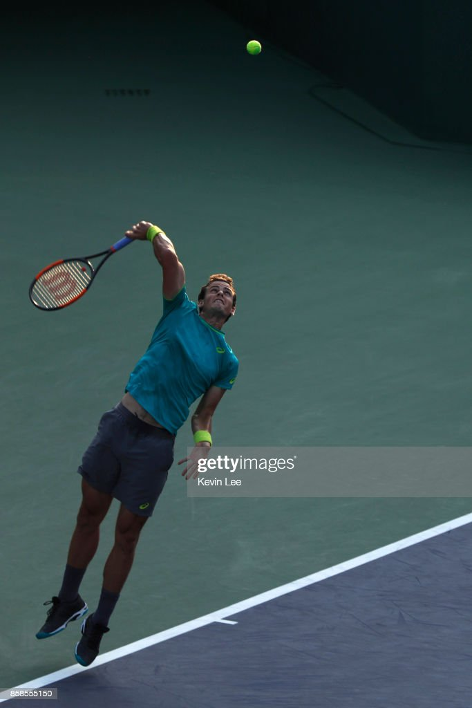 Vasek Pospisil of Canada serves to Taylor Fritz of United States during their Qualifying match in the 2017 Shanghai Rolex Masters at Qizhong Stadium on October 7, 2017 in Shanghai, China.