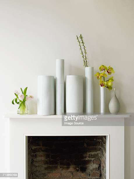 Vases on a mantelpiece