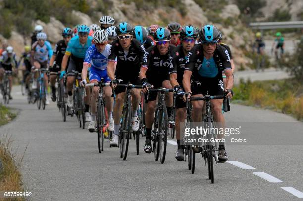 Vasil Kiryienka Miquel Landa Peter Kennaugh Diego Rosa and Christopher Froome of Team Sky ride during the fifth stage of Tour cycling race La Volta a...