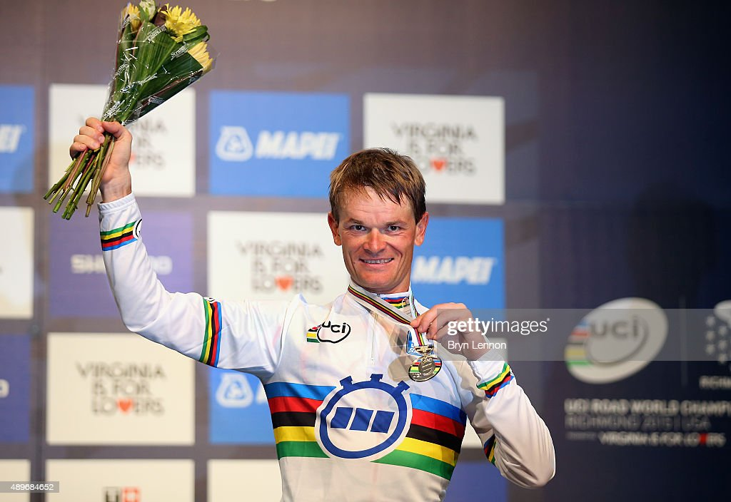 Vasil Kiryienka of Belarus celebrates winning the Elite Men Time Trial on day five of the UCI Road World Championships on September 23 2015 in...