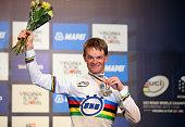 Vasil Kiryienka of Belarus celebrates winning the Elite Men Time Trial on day five of the UCI Road World Championships on September 23 2015 in...
