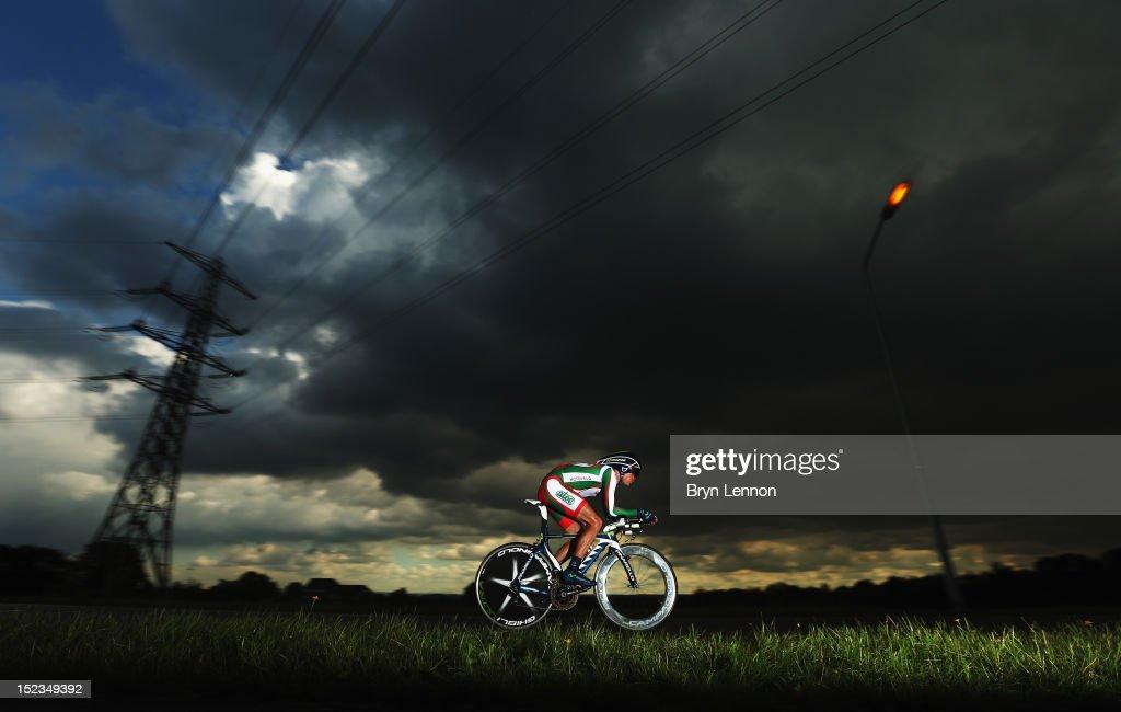 Vasil Kiryienka of Belarus in action in the Elite Men's Time Trial on day four of the UCI Road World Championships on September 19 2012 in Valkenburg...
