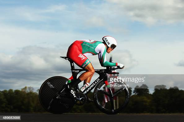 Vasil Kiryienka of Belarus on his way to winning the Elite Men Time Trial on day five of the UCI Road World Championships on September 23 2015 in...