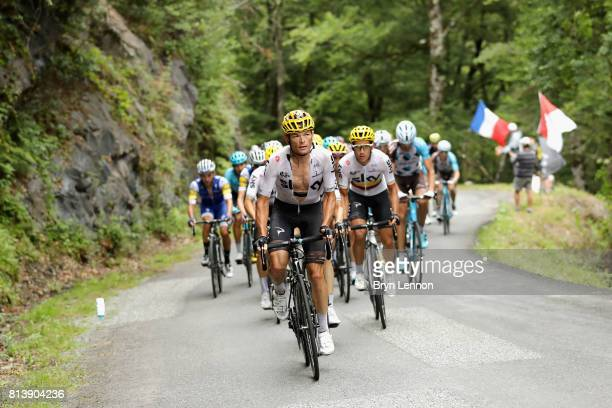 Vasil Kiryienka of Belarus riding for Team Sky leads the peloton during stage 12 of the Le Tour de France 2017 a 2145km stage from Pau to Peyragudes...