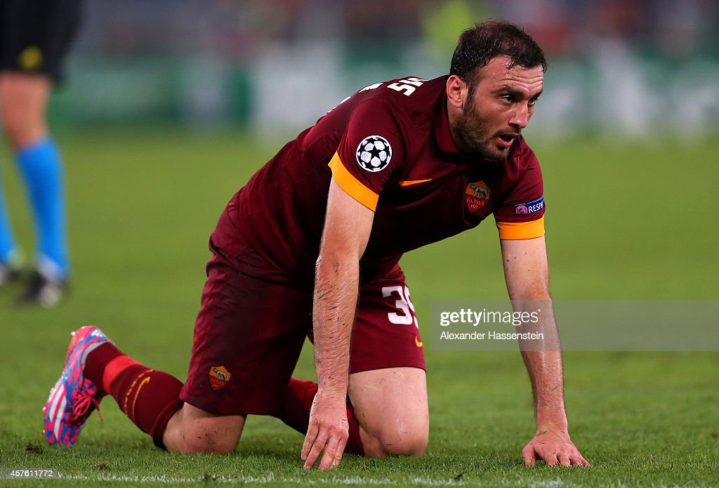 Vasileios Torosidis of AS Roma reacts during the UEFA Champions League group E match between AS Roma and FC Bayern Muenchen at Stadio Olimpico on October 21, 2014 in Rome, Italy.