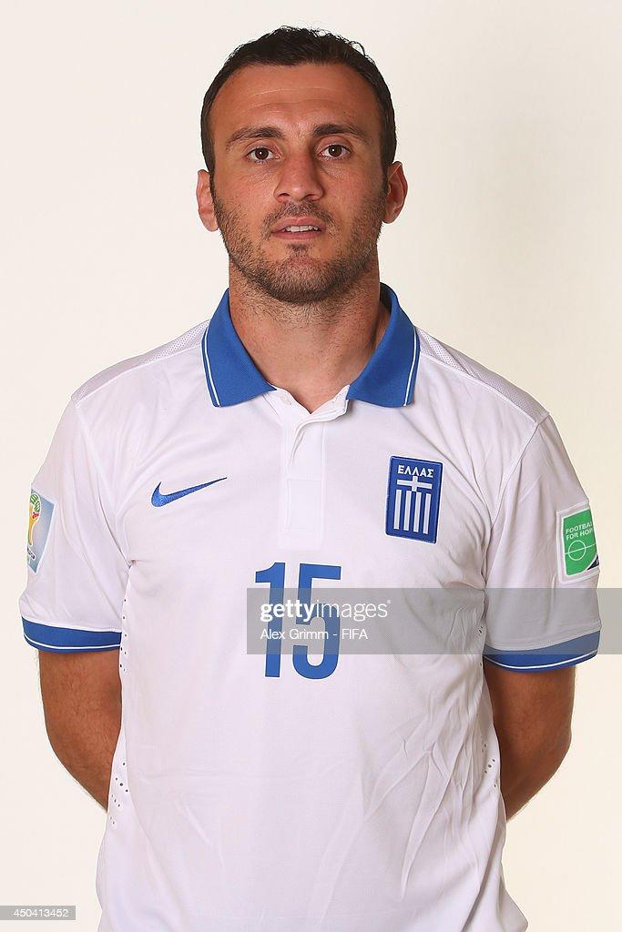 Vasileios Torosidis of Greece poses during the official FIFA World Cup 2014 portrait session on June 10, 2014 in Aracaju, Brazil.