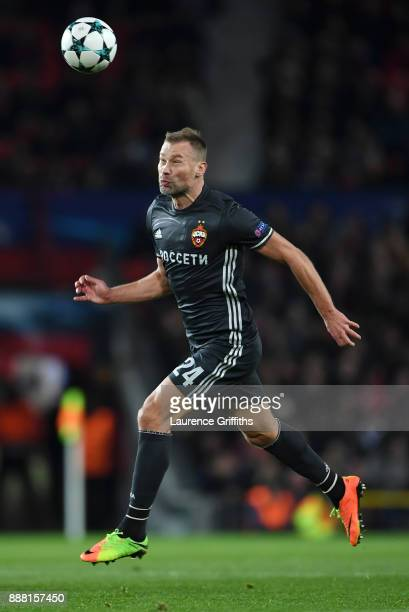 Vasili Berezutski of CSKA Moskva heads the ball during the UEFA Champions League group A match between Manchester United and CSKA Moskva at Old...