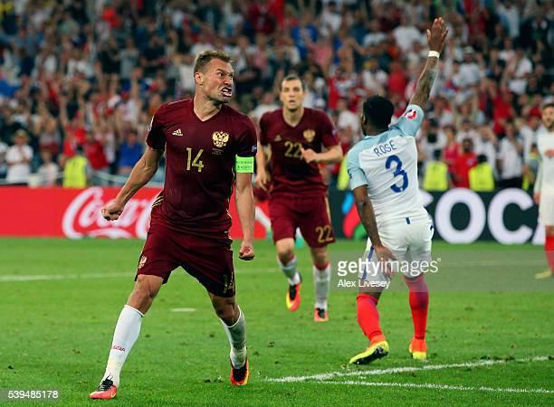 Vasili Berezutski of Russia celebrates scoring his team's first goal during the UEFA EURO 2016 Group B match between England and Russia at Stade...