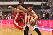 Vasilije Micic #13 of Crvena Zvezda Telekom Belgrade competes with James White #4 of Cedevita Zagreb during the Turkish Airlines Euroleague...