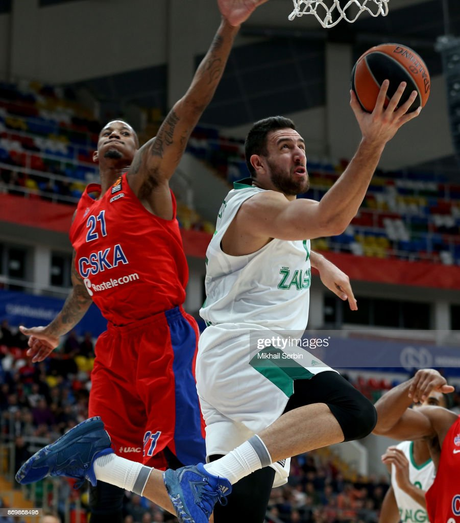 Vasilije Micic, #22 of Zalgiris Kaunas competes with Will Clyburn, #21 of CSKA Moscow in action during the 2017/2018 Turkish Airlines EuroLeague Regular Season Round 5 game between CSKA Moscow and Zalgiris Kaunas at Megasport Arena on November 3, 2017 in Moscow, Russia.