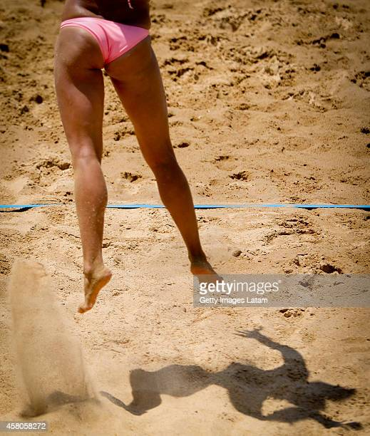 Vasiliki Arvaniti of Greece serves during a match between Grece and Brazil as part of FIVB Parana Open on October 29 2014 in Parana Argentina