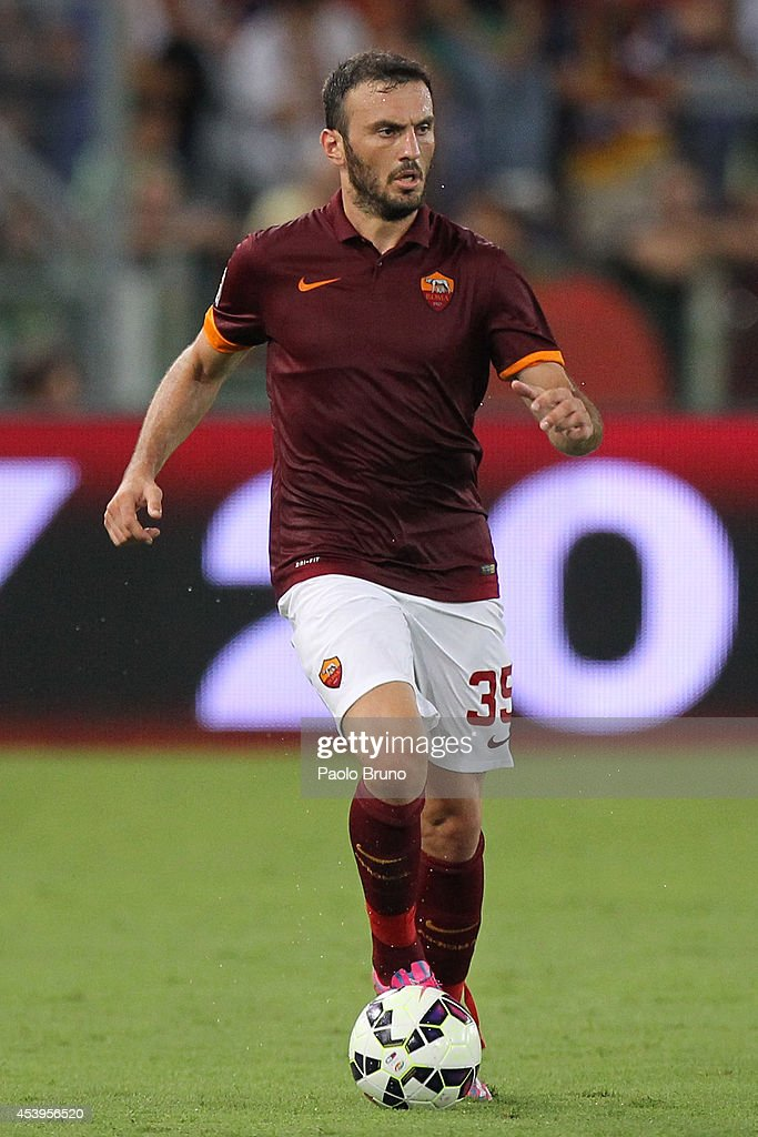 <a gi-track='captionPersonalityLinkClicked' href=/galleries/search?phrase=Vasilis+Torosidis&family=editorial&specificpeople=4542702 ng-click='$event.stopPropagation()'>Vasilis Torosidis</a> of AS Roma in action during the pre-season friendly match between AS Roma and Fenerbache SK at Stadio Olimpico on August 19, 2014 in Rome, Italy.