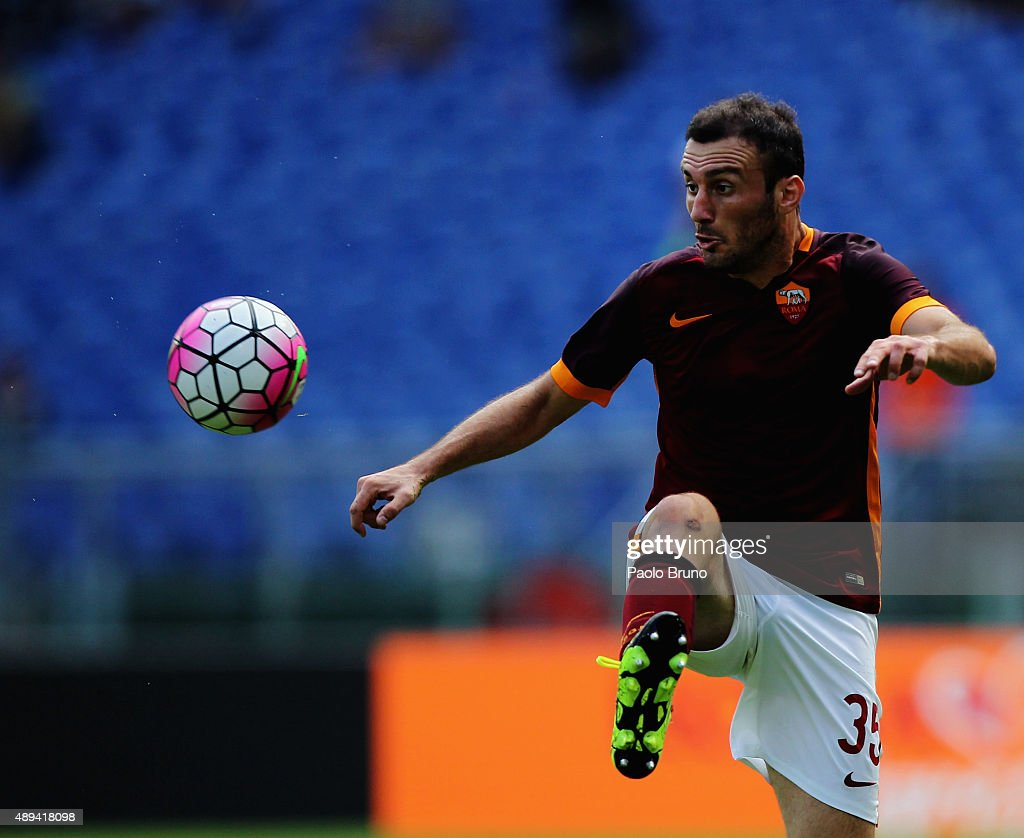<a gi-track='captionPersonalityLinkClicked' href=/galleries/search?phrase=Vasilis+Torosidis&family=editorial&specificpeople=4542702 ng-click='$event.stopPropagation()'>Vasilis Torosidis</a> of AS Roma in action during the Serie A match between AS Roma and US Sassuolo Calcio at Stadio Olimpico on September 20, 2015 in Rome, Italy.