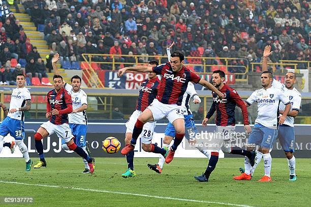 Vasilis Torosidis of Bologna FC kicks towards the goal during the Serie A match between Bologna FC and Empoli FC at Stadio Renato Dall'Ara on...