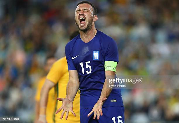 Vasilis Torosidis of Greece reacts after missing a shot on goal during the international friendly match between the Australian Socceroos and Greece...
