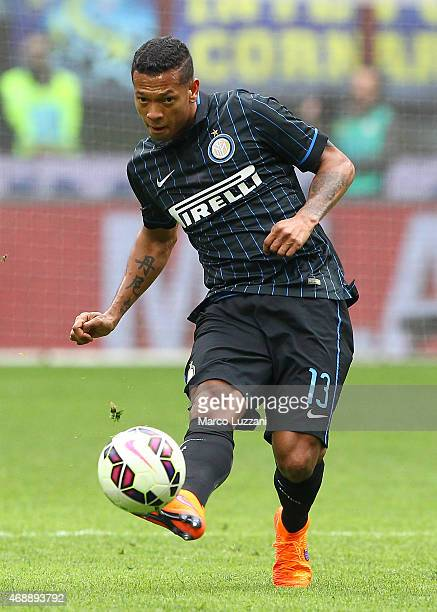 Vasquez Fredy Alejandro Guarin of FC Internazionale Milano kicks a ball during the Serie A match between FC Internazionale Milano and Parma FC at...