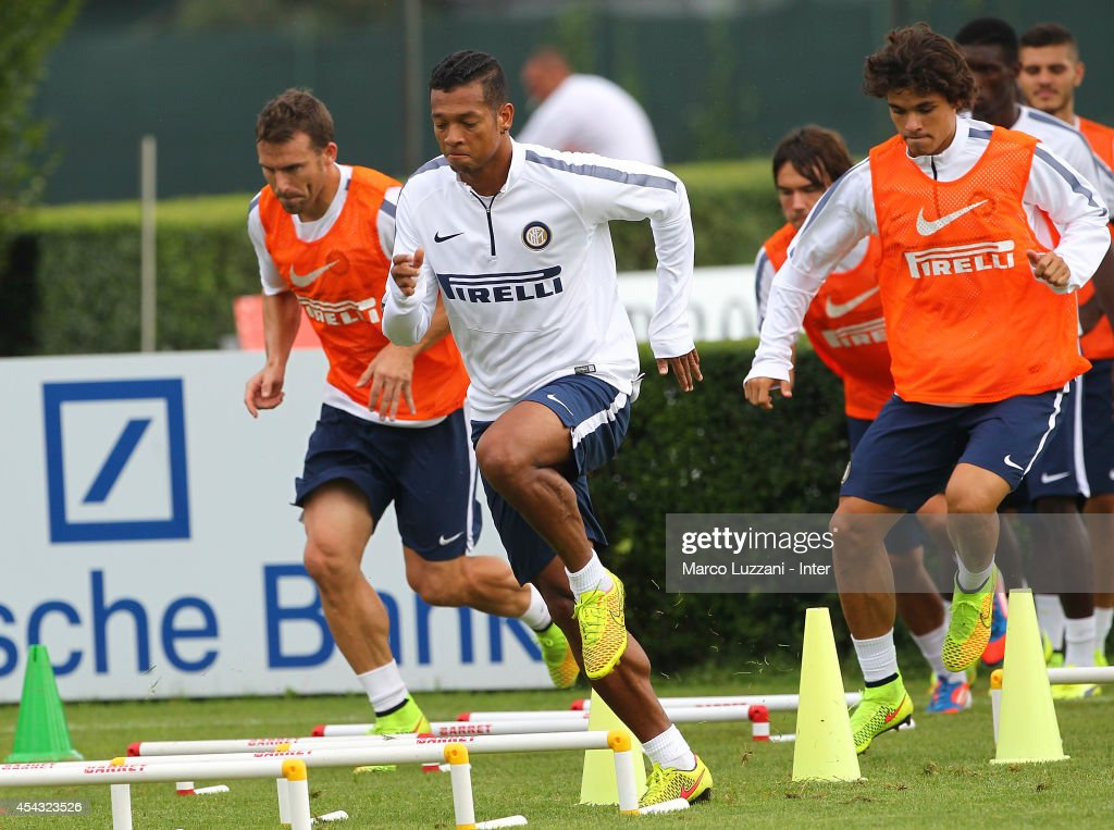 Vasquez Fredy Alejandro Guarin of FC Internazionale Milano trains during FC Internazionale Training Session at the club's training ground on August 29, 2014 in Appiano Gentile Como, Italy.