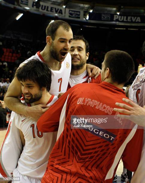 Vassilis Spanoulis #7 of Olympiacos Piraeus and Milos Teodosic #18 of Olympiacos Piraeus celebrate during the 20102011 Turkish Airlines Euroleague...