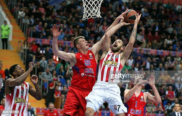 Vassilis Spanoulis #7 of Olympiacos Piraeus competes with Andrey Vorontsevich #20 of CSKA Moscow in action during the Turkish Airlines Euroleague...