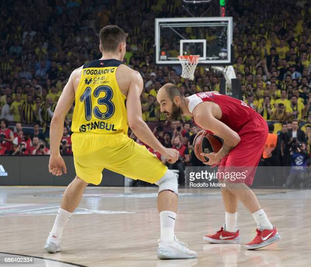 Vassilis Spanoulis #7 of Olympiacos Piraeus competes with Bogdan Bogdanovic #13 of Fenerbahce Istanbul during the Championship Game 2017 Turkish...