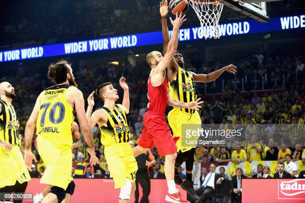 Vassilis Spanoulis #7 of Olympiacos Piraeus competes with Ekpe Udoh #8 of Fenerbahce Istanbul during the Championship Game 2017 Turkish Airlines...