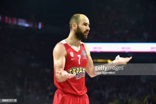 Vassilis Spanoulis #7 of Olympiacos Piraeus during the Championship Game 2017 Turkish Airlines EuroLeague Final Four between Fenerbahce Istanbul v...