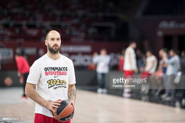 Vassilis Spanoulis #7 of Olympiacos Piraeus in action during the 2017 Turkish Airlines EuroLeague Final Four Olympiacos Piraeus Practice at Sinan...