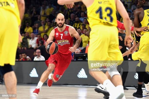 Vassilis Spanoulis #7 of Olympiacos Piraeus in action during the Championship Game 2017 Turkish Airlines EuroLeague Final Four between Fenerbahce...