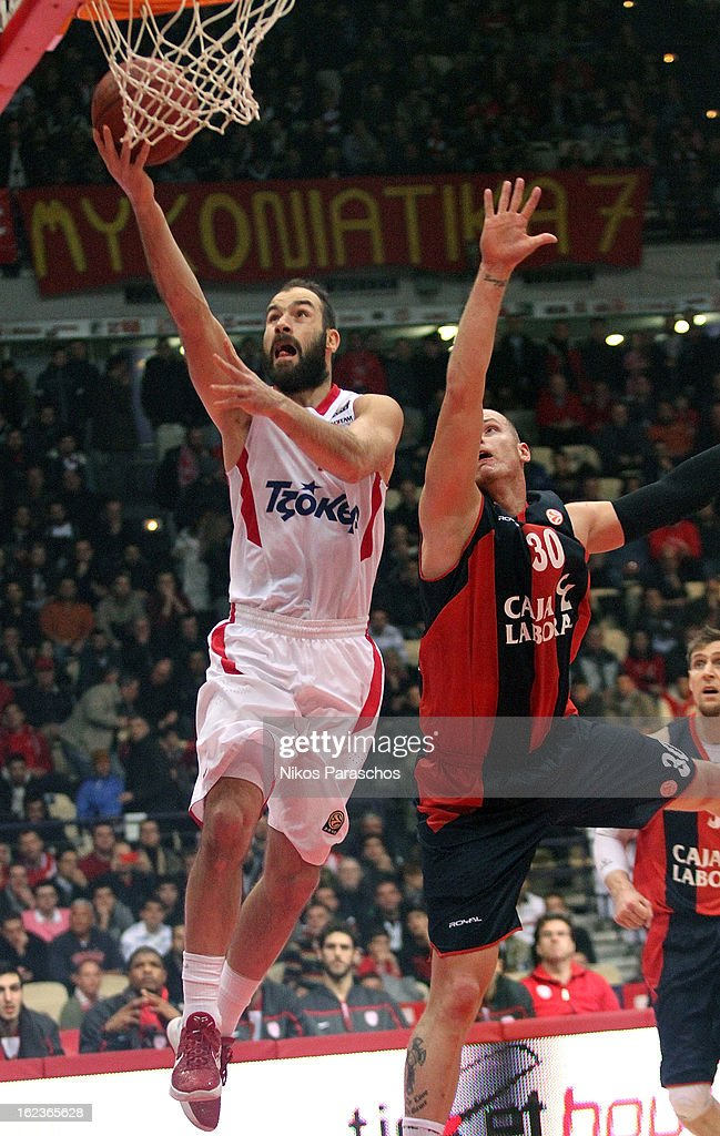<a gi-track='captionPersonalityLinkClicked' href=/galleries/search?phrase=Vassilis+Spanoulis&family=editorial&specificpeople=704857 ng-click='$event.stopPropagation()'>Vassilis Spanoulis</a>, #7 of Olympiacos Piraeus in action during the 2012-2013 Turkish Airlines Euroleague Top 16 Date 8 between Olympiacos Piraeus v Caja Laboral Vitoria at Peace and Friendship Stadium on February 22, 2013 in Athens, Greece.