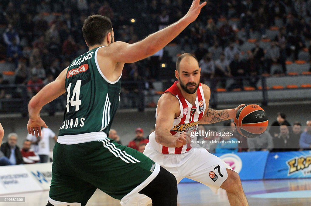 <a gi-track='captionPersonalityLinkClicked' href=/galleries/search?phrase=Vassilis+Spanoulis&family=editorial&specificpeople=704857 ng-click='$event.stopPropagation()'>Vassilis Spanoulis</a>, #7 of Olympiacos Piraeus in action during the 2015-2016 Turkish Airlines Euroleague Basketball Top 16 Round 11 game between Olympiacos Piraeus v Zalgiris Kaunas at Peace and Friendship Stadium on March 18, 2016 in Heraklion, Crete, Greece.