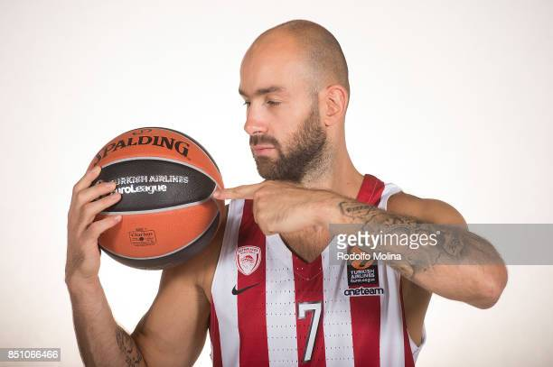 Vassilis Spanoulis #7 poses during Olympiacos Piraeus 2016/2017 Turkish Airlines EuroLeague Media Day at Peace and Friendship Arena on September 20...