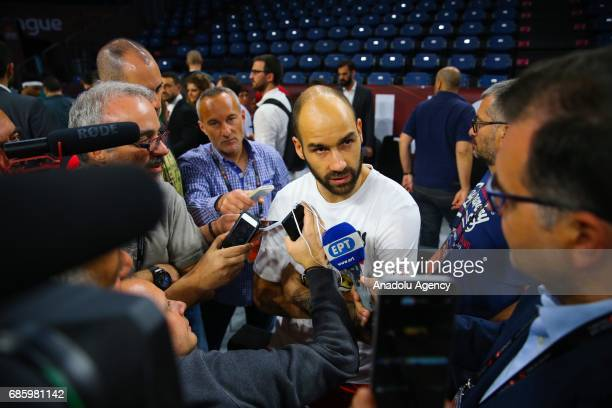 Vassilis Spanoulis of Olympiacos speaks to press during a training session ahead of the Turkish Airlines Euroleague Final Four final match between...