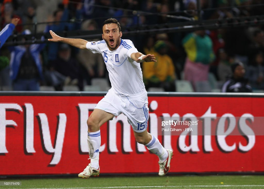 Vassilis Torosidis of Greece celebrates after he scores his team's second goal during the 2010 FIFA World Cup South Africa Group B match between Greece and Nigeria at the Free State Stadium on June 17, 2010 in Mangaung/Bloemfontein, South Africa.