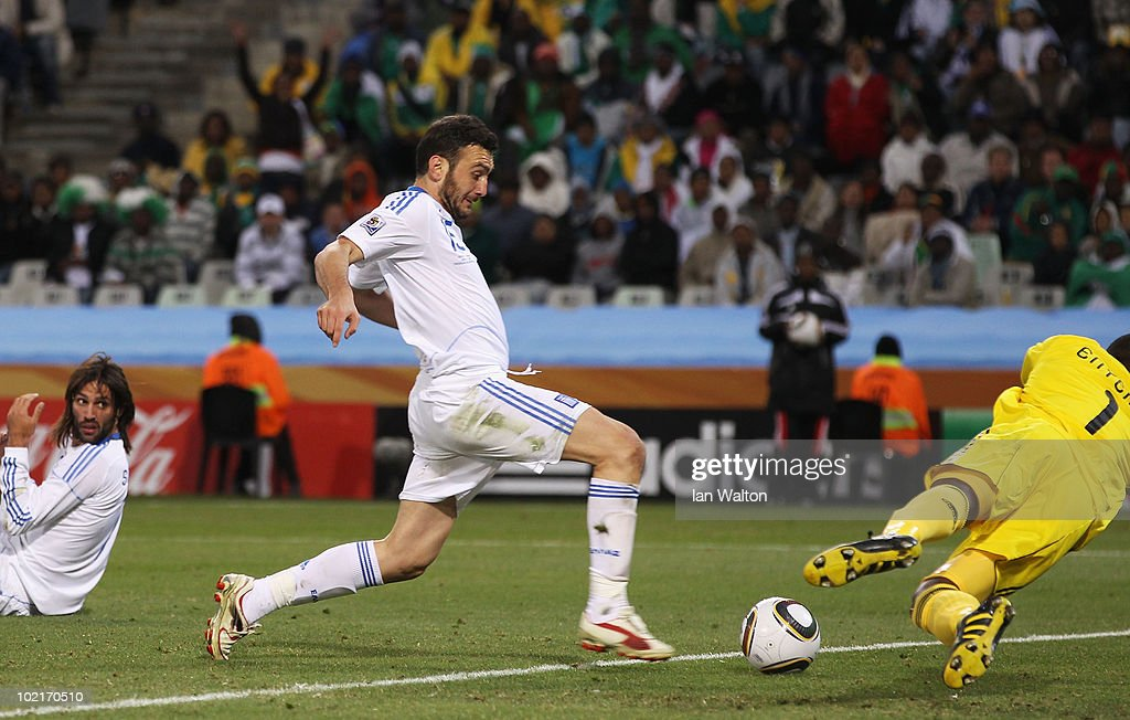 Vassilis Torosidis of Greece scores his side's second goal during the 2010 FIFA World Cup South Africa Group B match between Greece and Nigeria at the Free State Stadium on June 17, 2010 in Mangaung/Bloemfontein, South Africa.