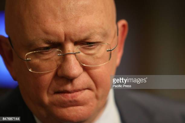 Vassily Nebenzia the Russian Federation's representative to the UN Security Council speaks to the press after the closed door meeting The United...