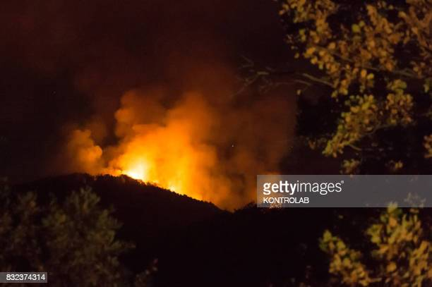 A vast fire in the Sila mountains in Calabria southern Italy
