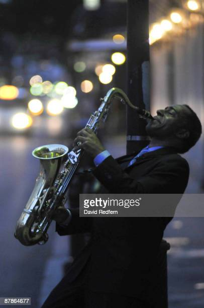 Vasti Jackson poses with tenor sax for generic jazz scenes in the French Quarter on April 29 2009 in New Orleans Louisiana