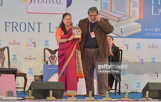 Vasundhar Raje launching Valmik Thapar's book 'Living With Tigers' during the inaugural session of the Jaipur Literature Festival 2017 on January 19...