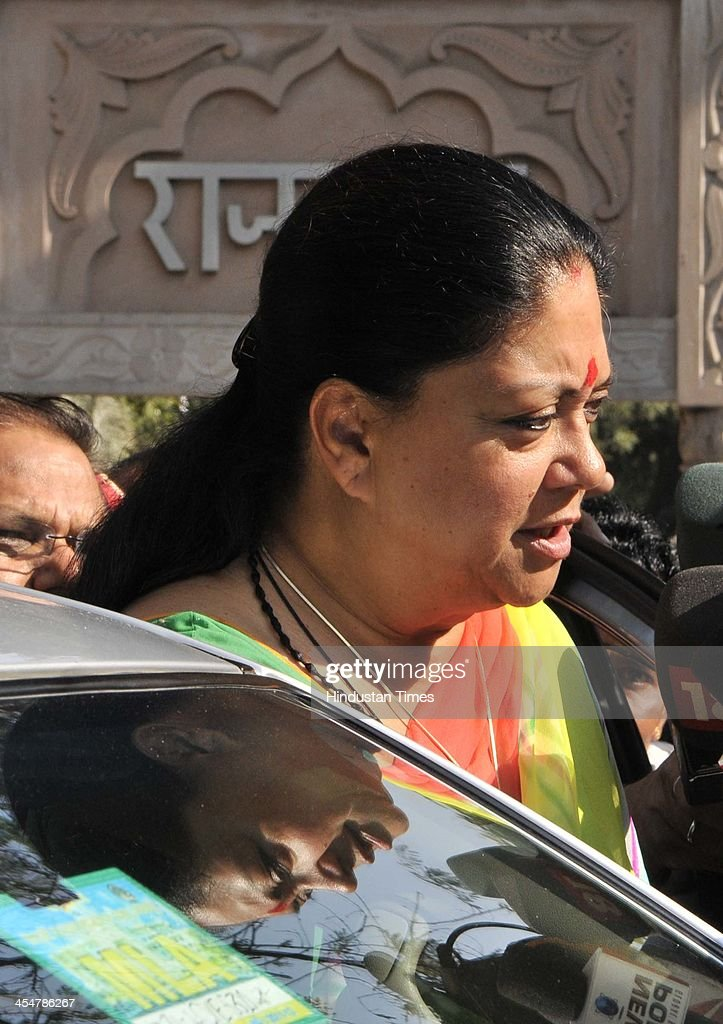 Vasundhara Raje BJP Chief Ministerial candidate talks with media after meeting with Rajasthan Governor Margaret Alva to stake claim to form the...