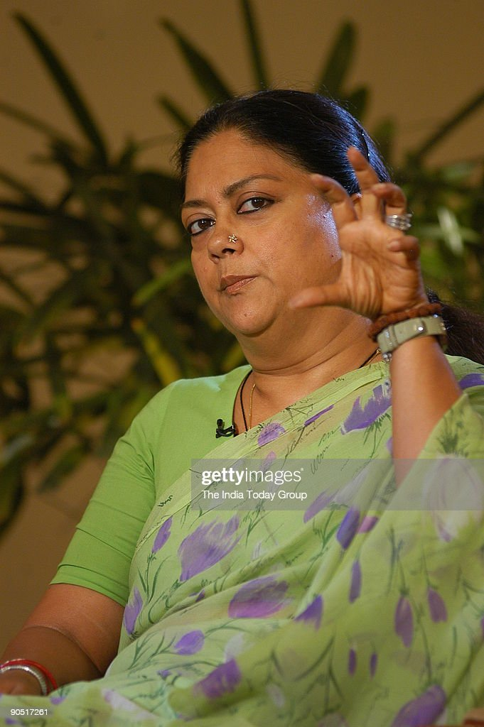 Vasundhara Raje Chief Minister of Rajasthan during an India Today Interview in New Delhi India