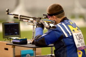Vasyl Kovalchuk of Ukraine competes in the Mixed R510m Air Rifle Prone SH2 finals on day 3 of the London 2012 Paralympic Games at The Royal Artillery...