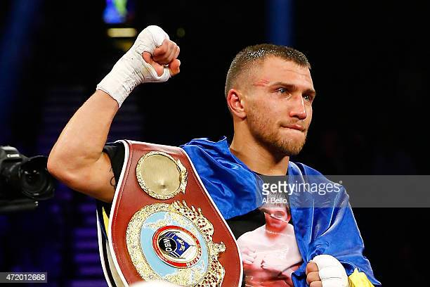 Vasyl Lomachenko celebrates his 9th round knockout of Gamalier Rodriguez during their WBO featherweight championship bout on May 2 2015 at MGM Grand...