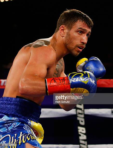 Vasyl Lomachenko in action against Roman Martinez in their Junior Lightweight WBO World Championship bout on June 11 2016 at the Theater at Madison...