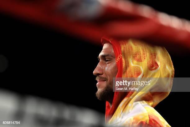 Vasyl Lomachenko of Ukraine looks on prior fighting Miguel Marriaga of Columbia during their WBO World Championship Junior Lightweight title fight at...