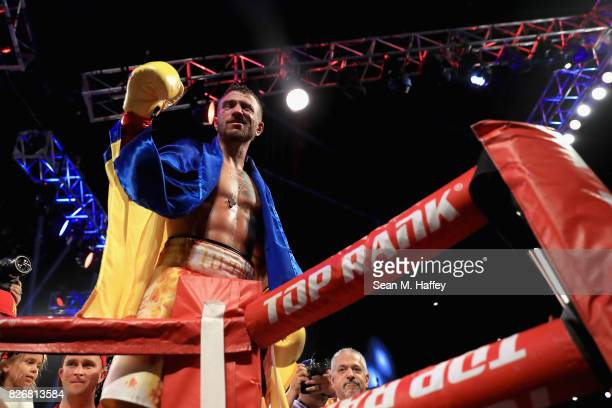 Vasyl Lomachenko of Ukraine reacts after defeatin Miguel Marriaga of Columbia by TKO in the seventh round during their WBO World Championship Junior...