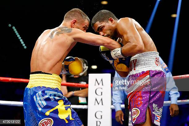 Vasyl Lomachenko throws a right at Gamalier Rodriguez during their WBO featherweight championship bout on May 2 2015 at MGM Grand Garden Arena in Las...